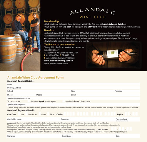 Allandale Winery Wine Club