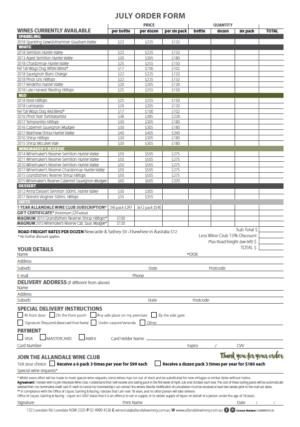 July 2019 Order Form